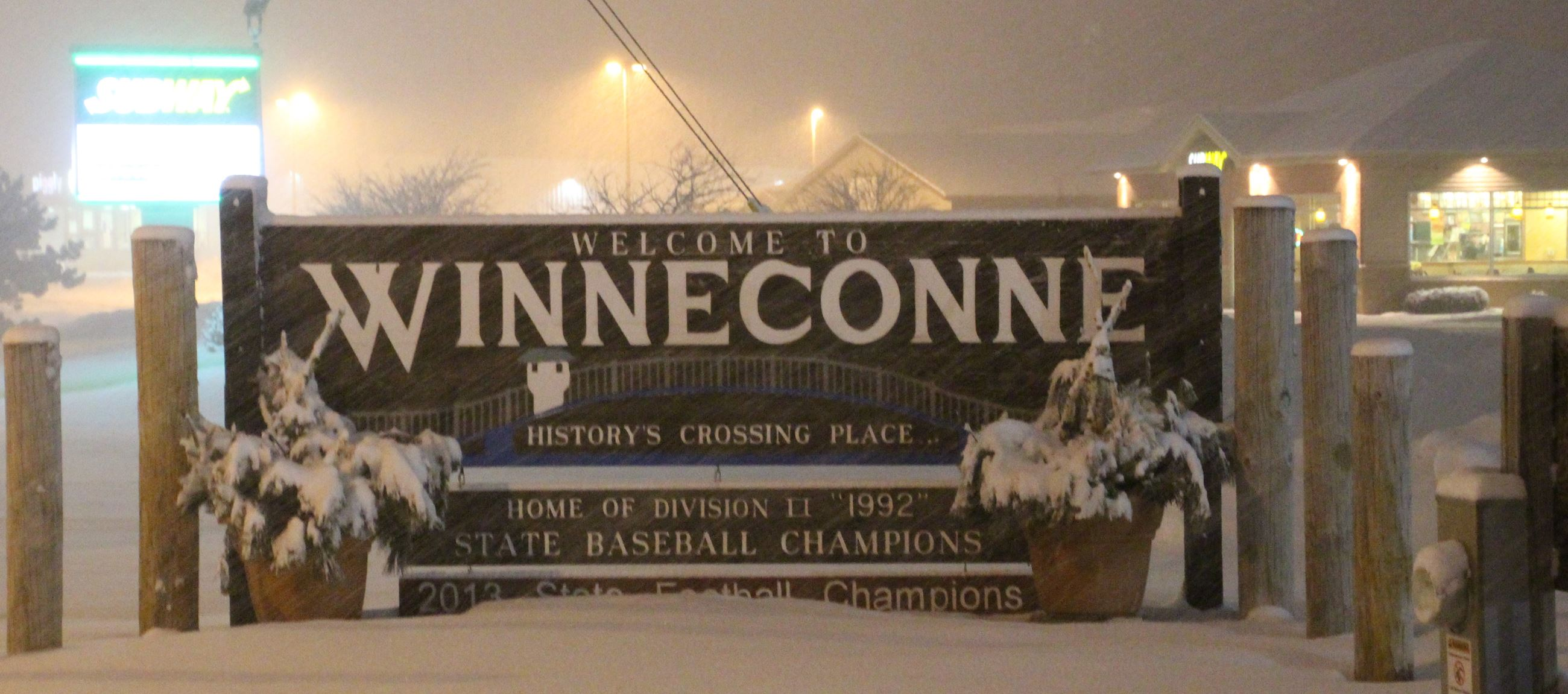 Winneconne Welcome Sign in Snow