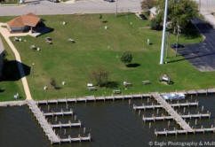 Aerial View of the Boat Slips at Waterfront Park